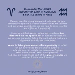 This week in Astrology: March 2020 - Venus enters Taurus, Mercury Retrograde in Pisces, Chiron conjunct Lilith, Venus conjunct Uranus